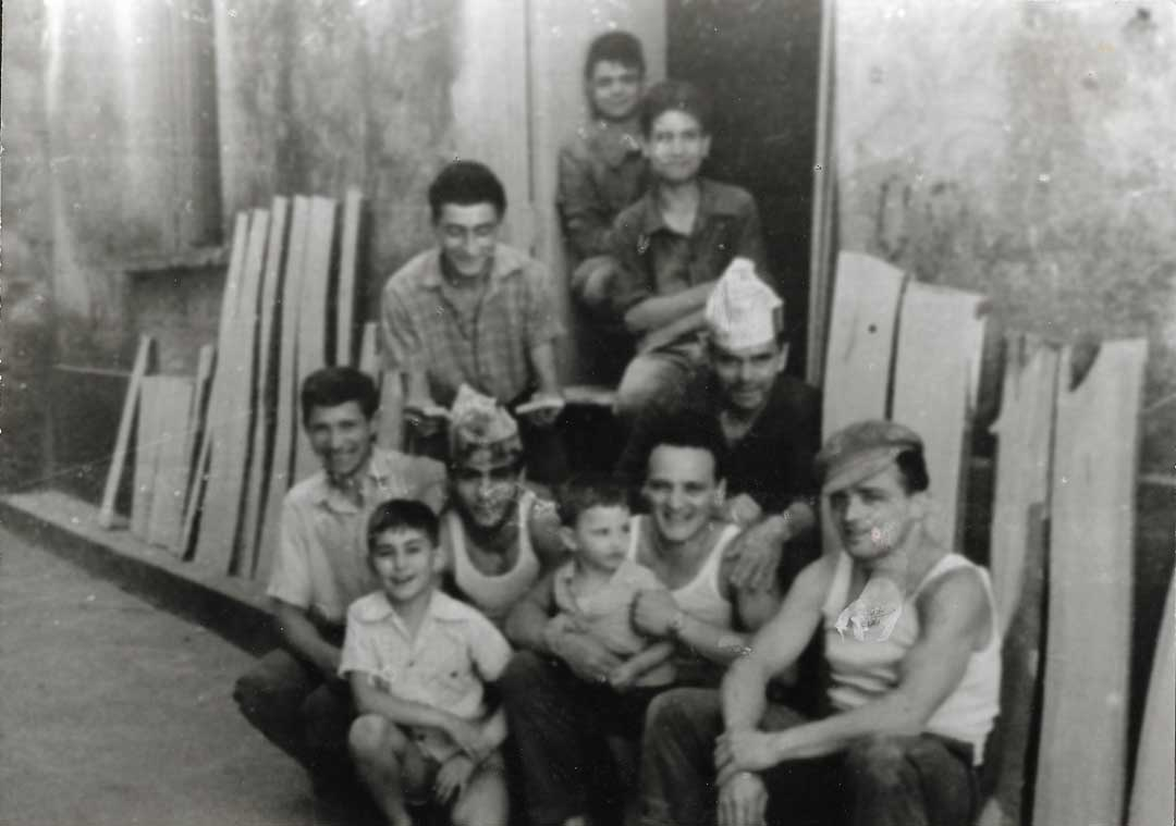 Family photo outside our old workshop, 1965, Vico Fuoro, Sorrento