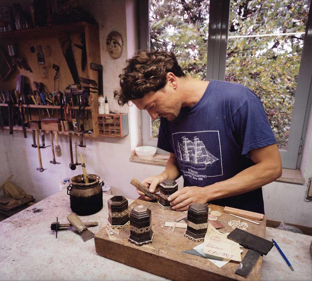 Franco Stinga glueing inlaid boxes in our workshop, 1995, Via degli Aranci, Sorrento