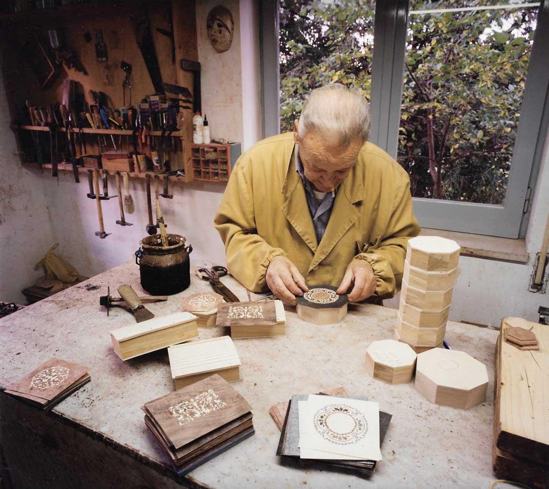 Our dad Aniello Stinga assembling inlaid boxes in our workshop, 1995, Via degli Aranci, Sorrento