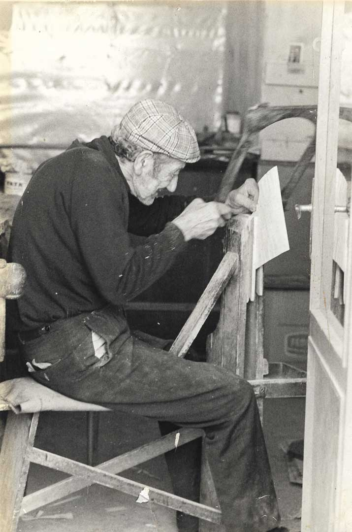 Grandfather cutting some pieces of wood for inlaid boxes, 1947, Sorrento