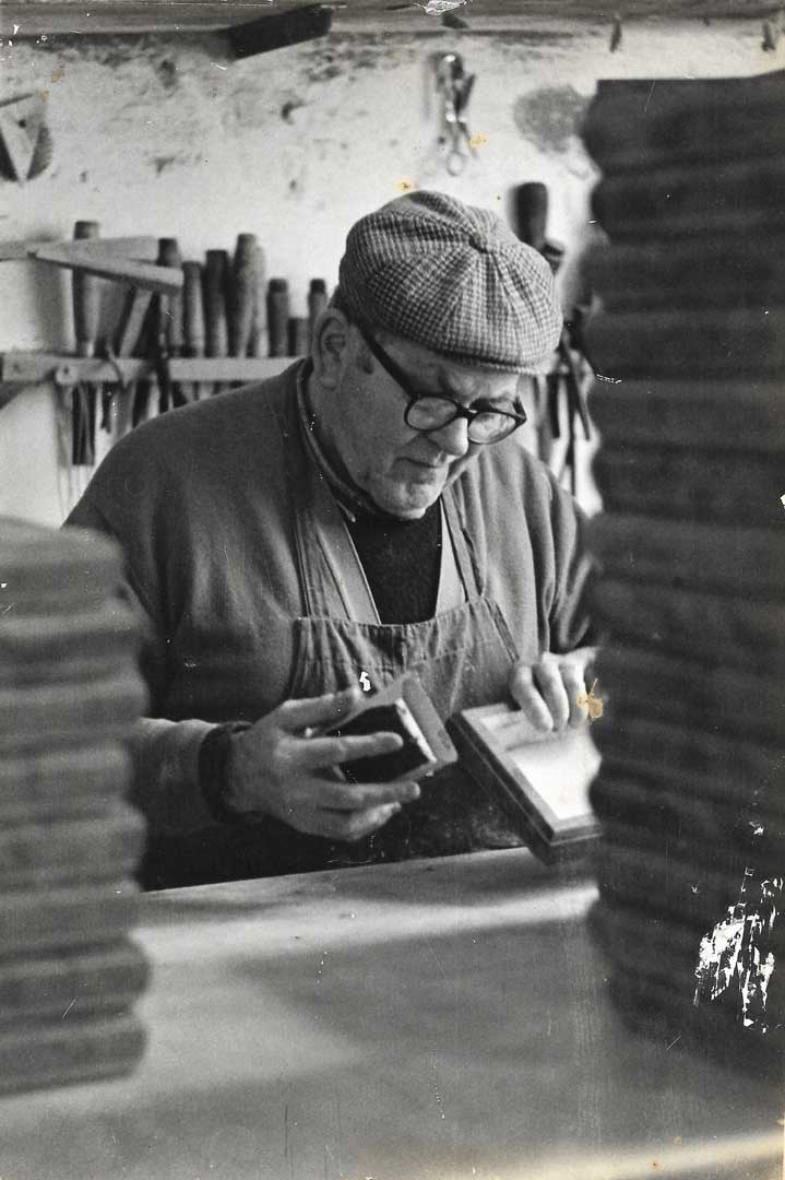 Great uncle Andrea in our old workshop, 1965, Vico Fuoro, Sorrento