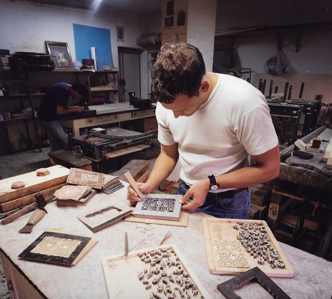 Roberto Stinga assembling jewelery boxes in our workshop, 1995, Via degli Aranci, Sorrento