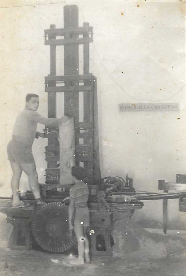 Uncle Andrea at work on the old sawing machine, 1949, Sorrento